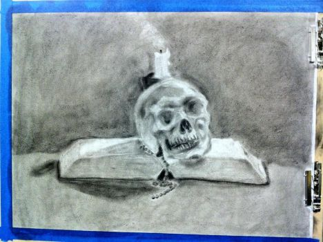 Skull, book, and candle by hermionechick8