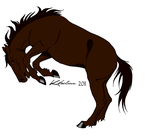 Bucking Brown Horse by Minecraftfan11