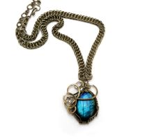 Wire Wrapped Chainmaille Necklace with Labradorite by hyppiechic