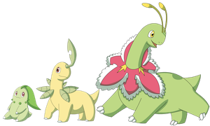 Chickorita, Bayleef, and Meganium by Sandstormer