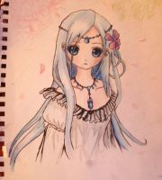 Blue Haired Anime Girl Drawing by L-L-arts