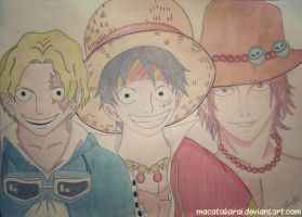 Sabo, Luffy and Ace (One Piece Brothers) by Macatakarai