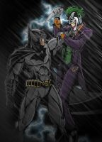 Batman vs. Joker IN COLOR by TimelessUnknown