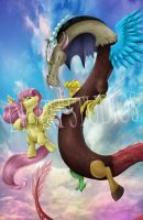 Discord and Fluttershy by Kyasha