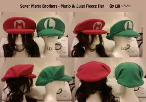 Mario and Luigi Hats by LiliNeko