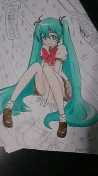 My artwork for  Miku chan's birthday XD by ZeeRrOoUu