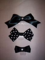 Set of Black Bows by GothicDorothy