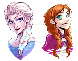 Frozen: Elsa and Anna by DarkLitria