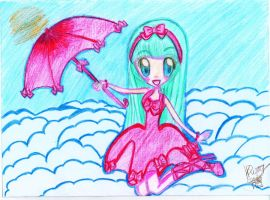 a girl with red umbrella by Ladyr4v3n