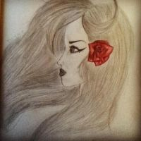 Girl with a Rose. by RosesPaintedBlack