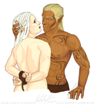 Commission: Zevran and Ayla by Aroihkin