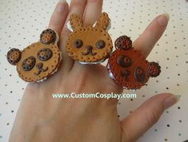 Panda and bunny rings by The-Cute-Storm