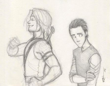 Young Thor and Loki by CaptBexx