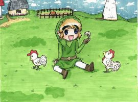 Link and Cuccoos by OldSophie