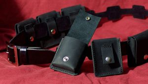 Black Leather Utility Belt by psychicsandswords