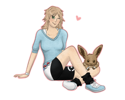 Kiri and her Eevee by D-eer