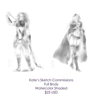 Full Body Sketch Commissions by kateheichou