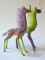 Kirin Pair Purple and Green by FamiliarOddlings