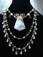 Bold drusy with vintage brass rainbow moonstone by jinx1764