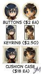 Attack on Titan Cushion cases keyrings and buttons by Dark-Merchant