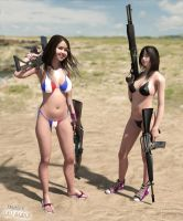 Playing with my girls, playing with their guns 1 by erogenesis-art