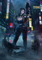 Cyberpunk girl by feintbellt