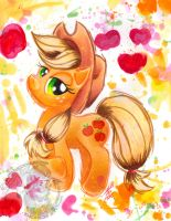 Applejack Watercolor-G4 by BarbedDragon