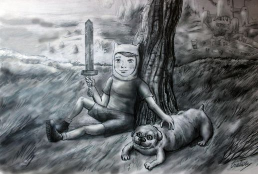 Finn and Jake by pilouuuu