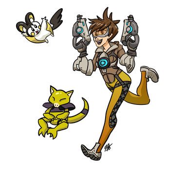 Pokemon and Overwatch ~ Tracer by JoyJababaNoid