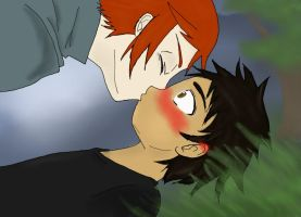 kiss in the meadow Edward+Jacob by SquirllyB34R