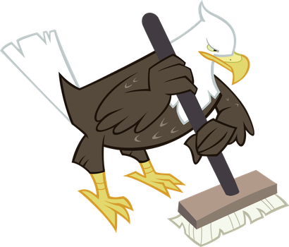 Eagle with Curling Broom by Knight725