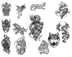 Photoshop Tattoo Brushes Pack by rkoyuki