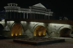 Skopje Stone Bridge vs Museum by dardaniM