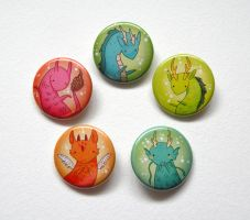 Little dragon buttons by michellescribbles