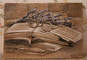 I love books, round glasses and lavender by SilkHorse