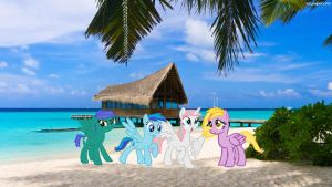At the beach with my Best Friends by RainyHooves