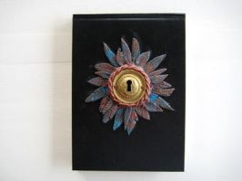 Feather Golden Key Journal - Polymer Clay by RoyalKitness