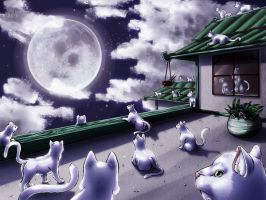 Eighteen Cats and the Moon by Tiamate