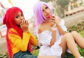 Apple Bloom and Sweetie Belle by dashcosplay