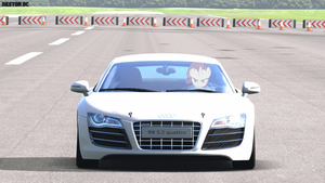 Rarity drives her Audi R8 through the TG track by nestordc