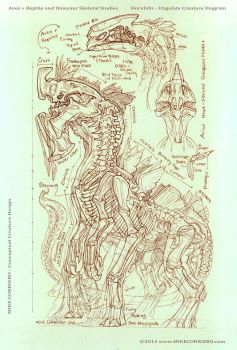 Ave Reptilian Skeletal Diagram by MIKECORRIERO