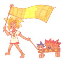 Heba and his plushis and flag by SakiraKiss