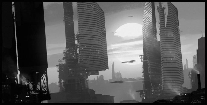 Skyline composition, Photoshop, 1 hour by Raphael-Lacoste
