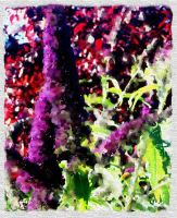 Butterfly Bush Oil Painting by drkdsgn