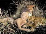 Marilyn Monroe with Leopards (digital drawing) by eyeqandy