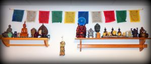 Buddha-ganesh Shelves 6-23-13 by wiccanwitchiepoo