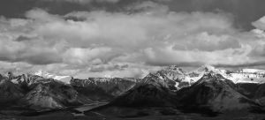 banff mountain range BnW by biggoofybastard