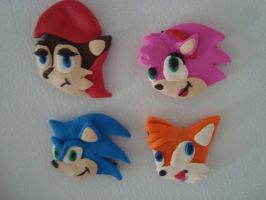 Sonic Sally Tails Amy Magnets by theOrangeSunflower