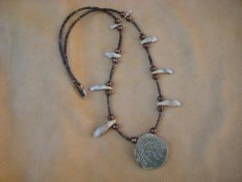 Boar necklace w javelina teeth by lupagreenwolf