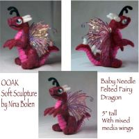 Red Needle Felted Fairy Dragon by The-GoblinQueen